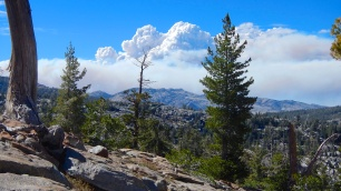 King Fire from Maggie's Peaks leaving Desolation Wilderness - In the few hours I had passed before, the fire grew closer