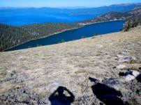 Looking down on Marlette Lake and Lake Tahoe