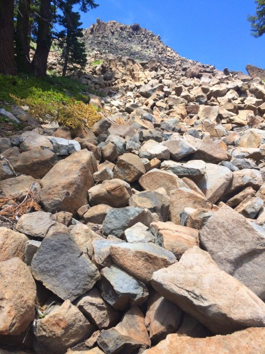 Rockpile at base of Twin Peaks, South Peak