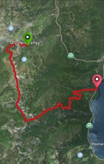 GPS track of run