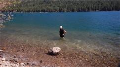 Sara braving the cold water